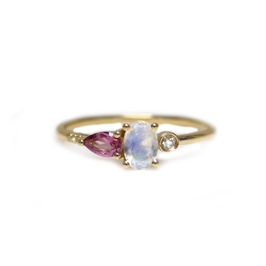 14k gold rainbow moonstone, pink tourmaline, diamond MIA ring