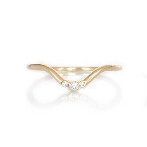 gold diamond arc ring