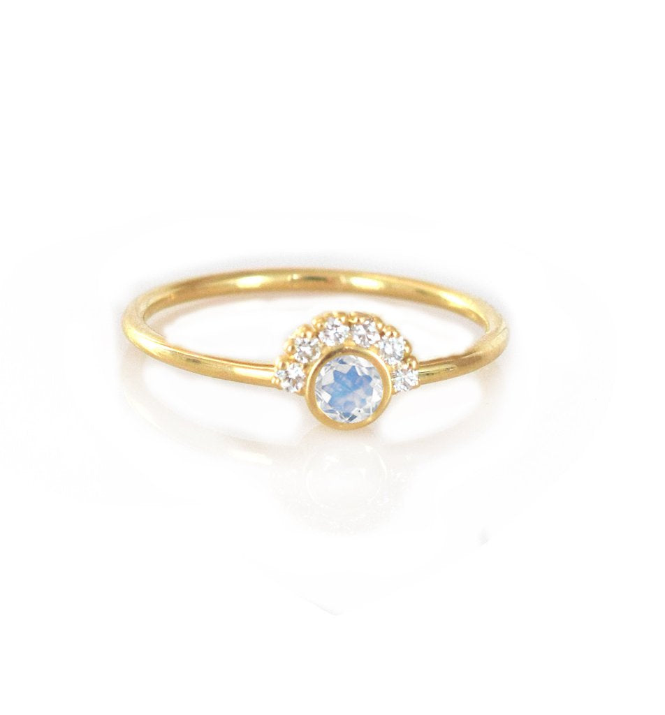 14k gold rainbow moonstone and diamond aztec ring