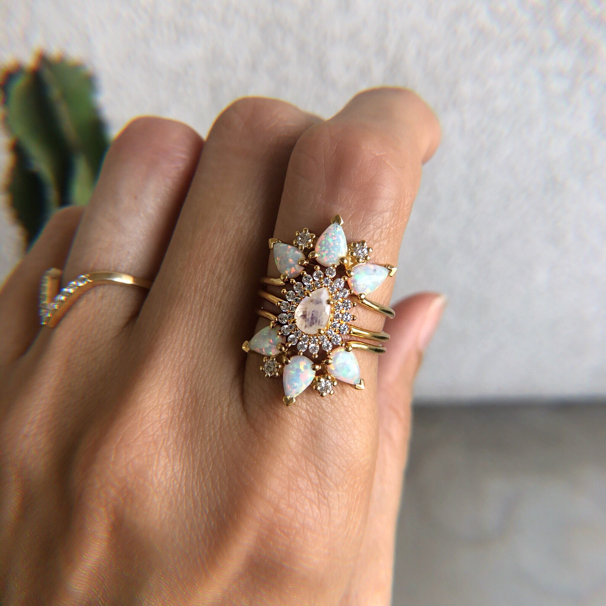 rainbow moonstone and diamond vintage versailles ring la kaiser