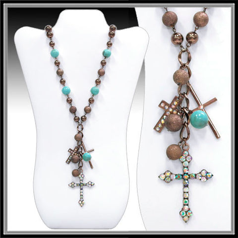Chocolate and Turquoise Multi Cross necklace