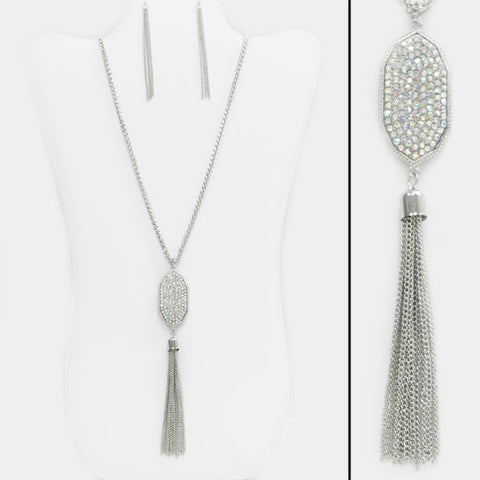 Rhinestone and Tassel Necklace