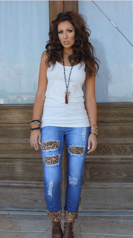 Boyfriend is Back Jeans with Leopard