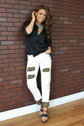 Boyfriend Jeans with Leopard-White