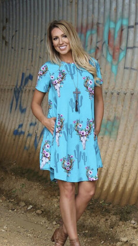 Addictive Dress-Turquoise Steer