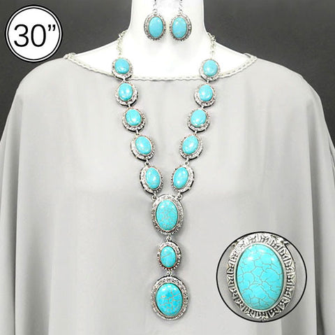Turquoise Statement Necklace/Earrings