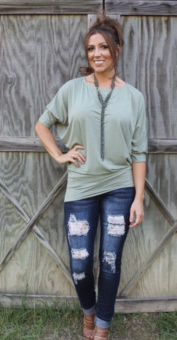 Dallas Dolman-Light Olive-3/4 Sleeve