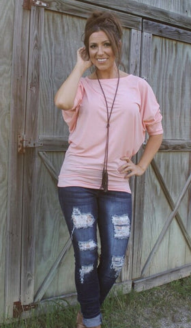 Dallas Dolman-Light Coral/Pink-3/4 Sleeve