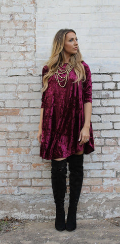 Addictive Dress-Crushed Velvet-Burgundy