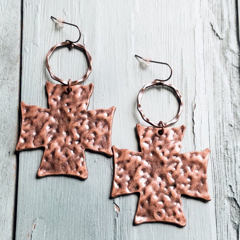 Hammered Cross on Copper Hoop Earrings