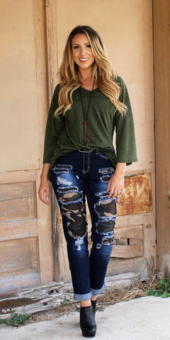 Military Patch Boyfriend Jeans