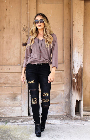 Black Leopard and Sequin Skinny Jeans