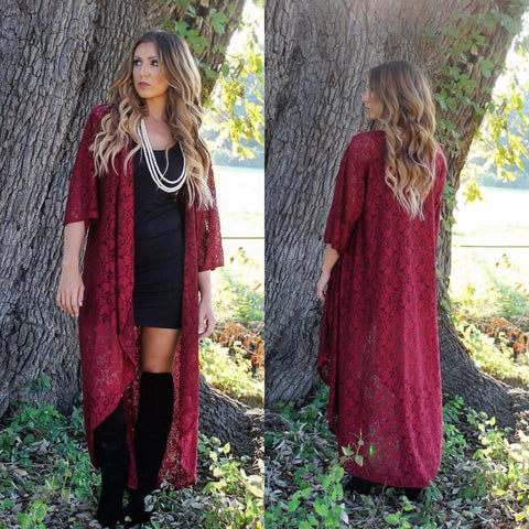 Crazy for Lace Duster-Burgundy