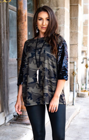 Sequin and Camo Top