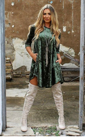 Addictive Dress-crushed Velvet-Olive