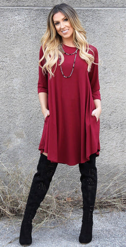 Addictive Dress-Burgundy
