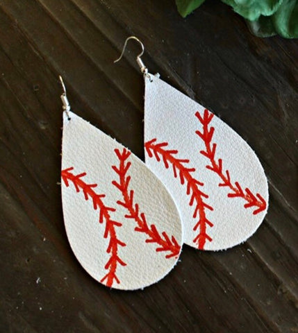 Hand Painted Leather Baseball Earrings