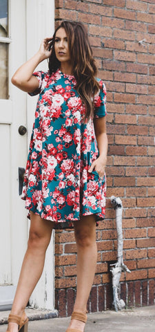 Addictive Dress-Flower Power-Turquoise