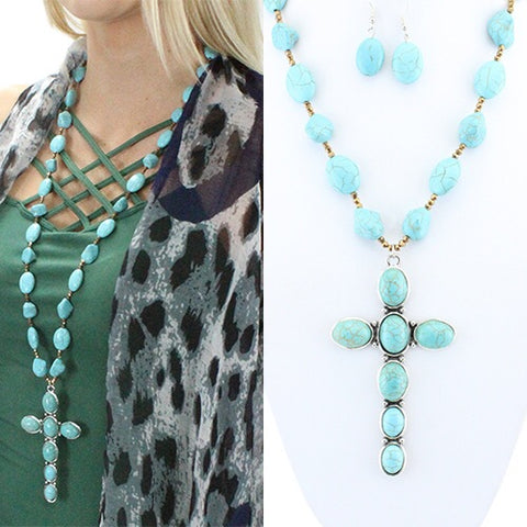 Long Turquoise Cross Necklace