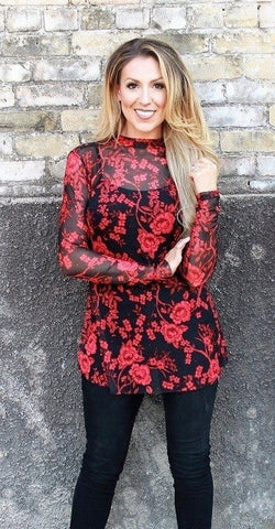 Floral red and black sheer top