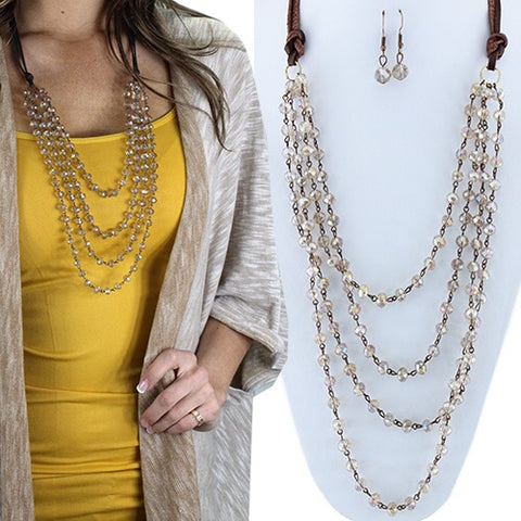 Layered Beaded Necklace-Champagne