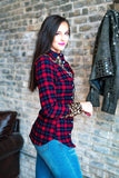 Leopard meets Plaid Top