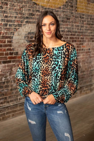 Brown/Turquoise Leopard Top
