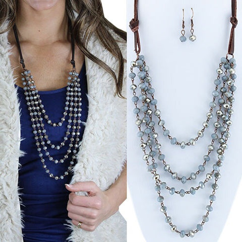 Layered Beaded Necklace-silver