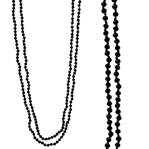 Crystal Long Necklace-Black