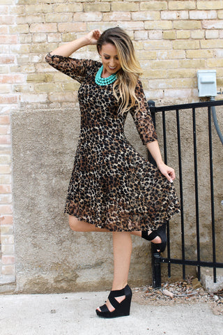 Alyssa's Wish Lace Leopard Dress
