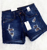 Judy Blue Distressed Shorts-with Leopard
