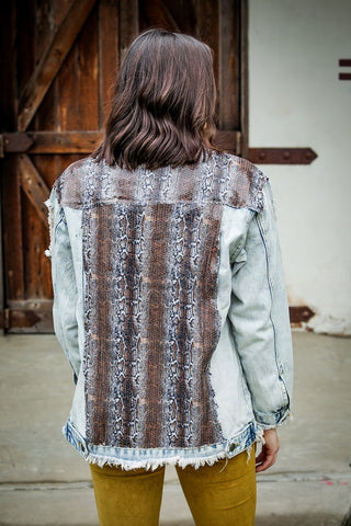 Snakeskin Sequin Denim Jacket
