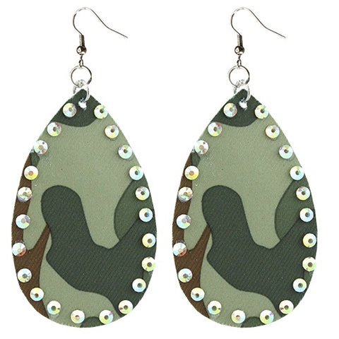 Camo and stone earrings