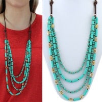 Turquoise and Stone Layered Necklace