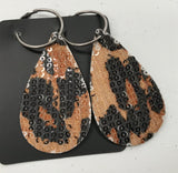 Sequin Leopard & Leather Earrings