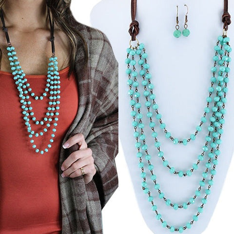 Layered Beaded Necklace-Turquoise