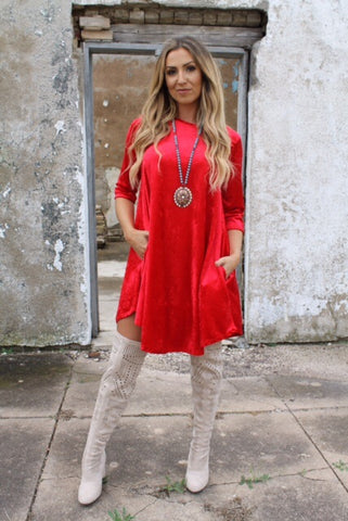 Addictive Dress-Crushed Velvet Red