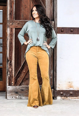 Corduroy Bell Bottom Pants-Mustard