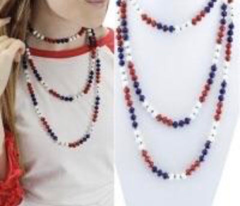"Red White & Blue 60"" Beaded Necklace"