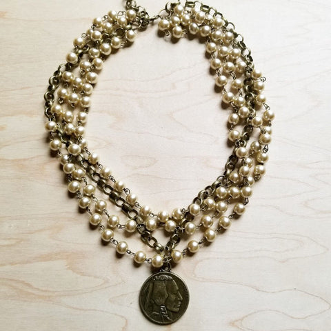 Champagne Pearl Collar Necklace
