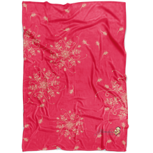 Load image into Gallery viewer, Coral and gold minky blanket with grevillea design