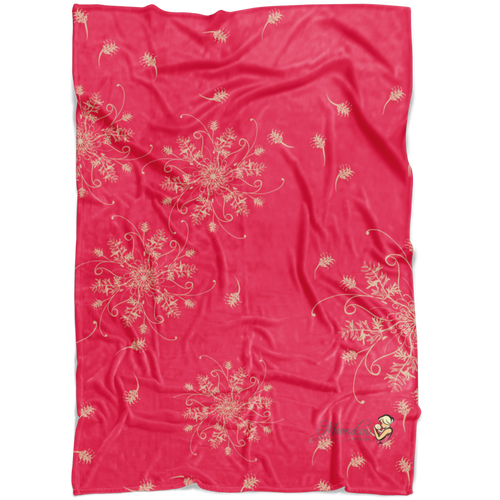 Coral and gold minky blanket with grevillea design