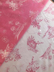 pink and white gumnut babies carrier fabric
