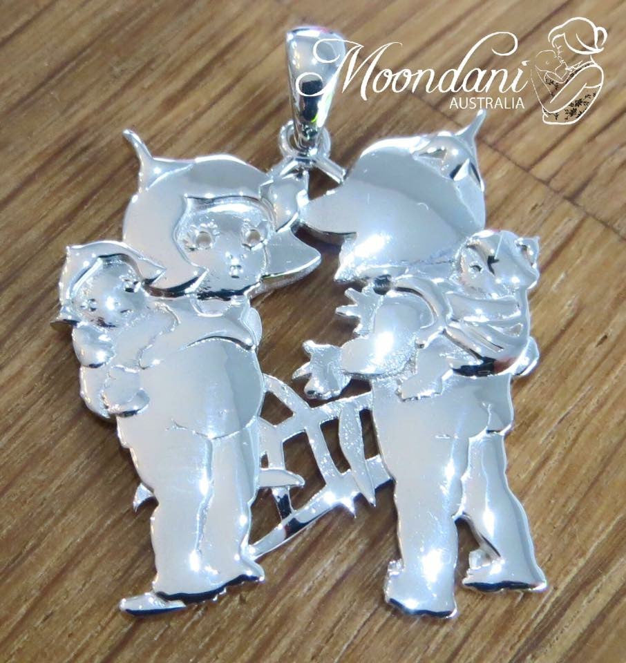 SIlver gumnut babies pendant with two blossom mothers wearing their babies on their backs