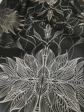 Load image into Gallery viewer, black and silver whimsical fairy wing abstract pattern