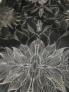 black and silver whimsical fairy wing abstract pattern