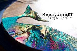 Moondani Art Rustic round serving board