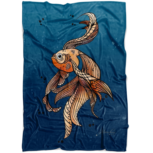 Blue minky blanket with orange toned grumpy fish with beautiful flowing fins