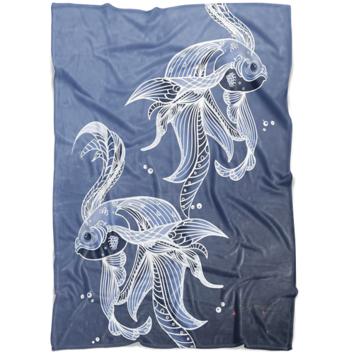 Blue minky blanket with muted toned grumpy fish with beautiful flowing fins