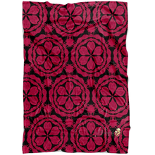 Load image into Gallery viewer, minky blanket in red and black with waratah floral design
